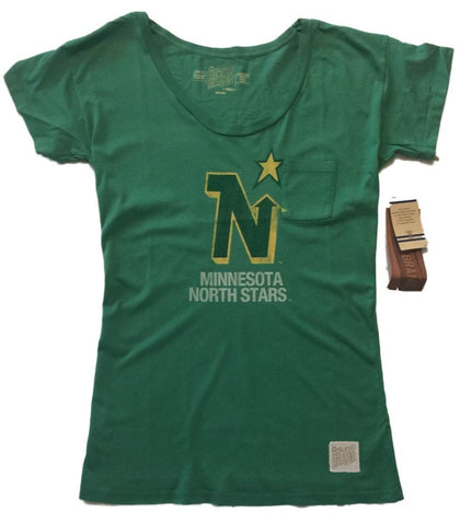 Minnesota North Stars Retro Brand WOMEN Green Pocketed Short Sleeve T-Shirt