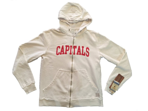 Shop Washington Capitals Retro Brand Off-White Full Zip Up Waffle Hooded Jacket
