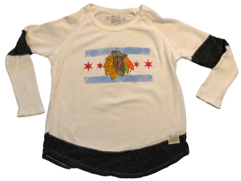 Chicago Blackhawks Retro Brand WOMENS Stars & Stripe Waffle LS T-Shirt