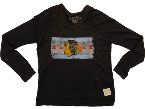 Chicago Blackhawks Retro Brand WOMEN Stars & Stripes LS Thick Knit T-Shirt