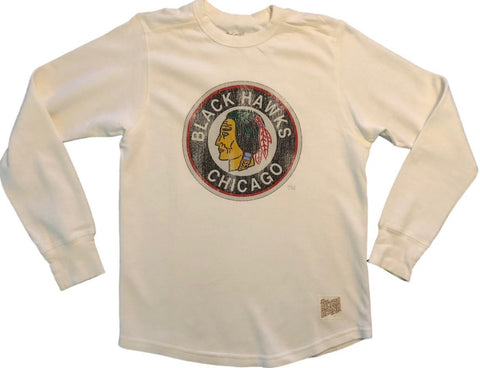 Chicago Blackhawks Retro Brand Off-White LS Thick Knit Crew Neck T-Shirt (S)
