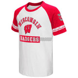 Wisconsin Badgers Colosseum Youth Raglan All Pro Short Sleeve Red White T-Shirt