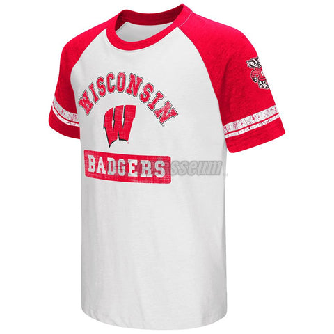 Shop Wisconsin Badgers Colosseum Youth Raglan All Pro Short Sleeve Red White T-Shirt