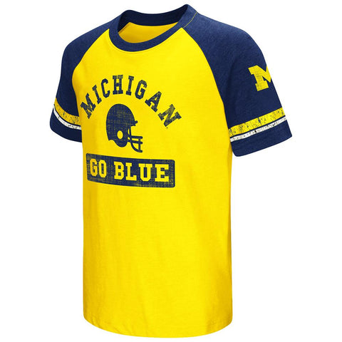 Shop Michigan Wolverines Colosseum Youth Raglan All Pro Short Sleeve Gold T-Shirt