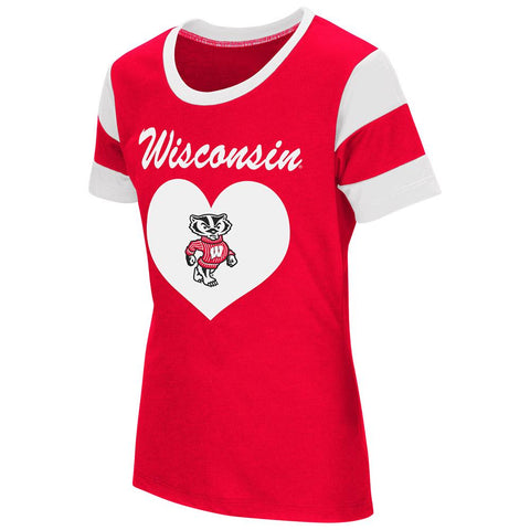 Shop Wisconsin Badgers Colosseum Youth Girls Bronze Medal Short Sleeve Red T-Shirt