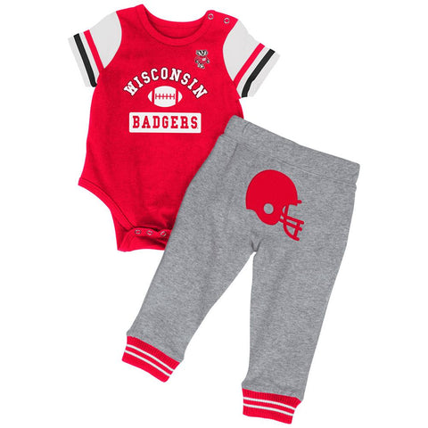Wisconsin Badgers Colosseum Infant Boys MVP One Piece Outfit and Sweatpants Set