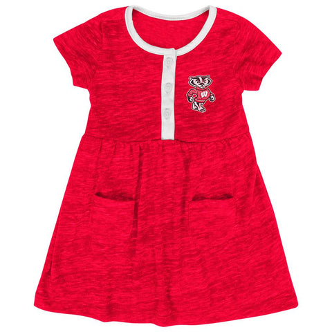 Shop Wisconsin Badgers Colosseum Infant Girls Triple Jump Red 3 Button Dress