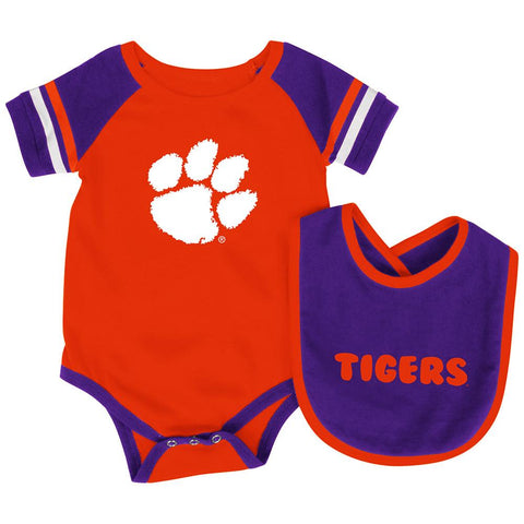 Shop Clemson Tigers Colosseum Roll-Out Infant One Piece Outfit and Bib Set