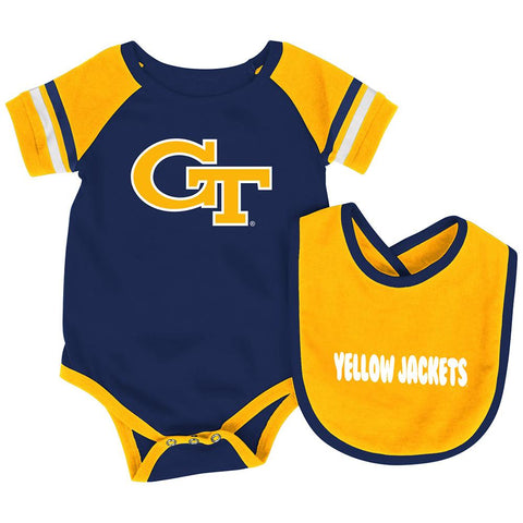 Georgia Tech Yellow Jackets Colosseum Roll-Out Infant One Piece and Bib Set