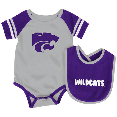 Shop Kansas State Wildcats Colosseum Roll-Out Infant One Piece Outfit and Bib Set