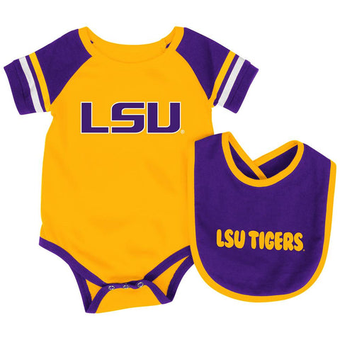 Shop Louisiana State LSU Tigers Colosseum Roll-Out Infant One Piece and Bib Set
