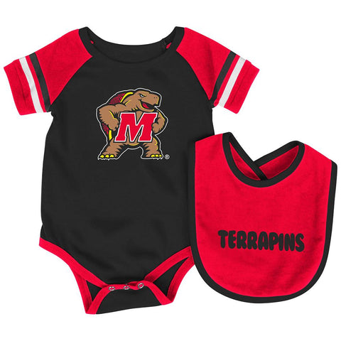 Maryland Terrapins Colosseum Roll-Out Infant One Piece Outfit and Bib Set