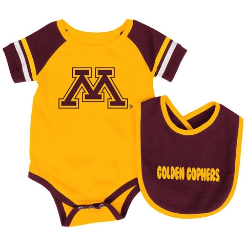 Minnesota Golden Gophers Colosseum Roll-Out Infant One Piece Outfit and Bib Set - Sporting Up