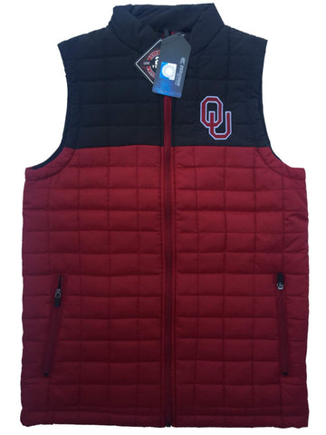 Oklahoma Sooners Colosseum Amplitude Puff Full Zip 2 Tone Red Gray Vest - Sporting Up