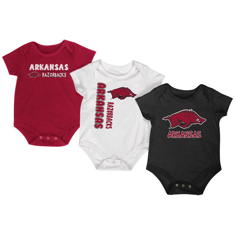 Arkansas Razorbacks Colosseum Trifecta Infant One Piece Outfits - 3 Pack
