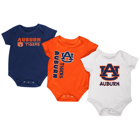 Auburn Tigers Colosseum Navy Orange White Infant One Piece Outfits - 3 Pack