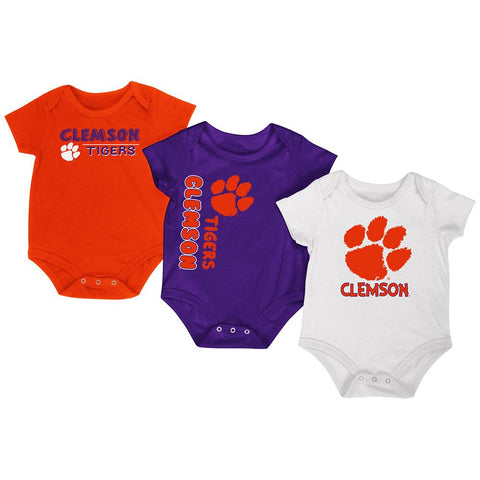 Clemson Tigers Colosseum Orange Purple White Infant One Piece Outfits - 3 Pack