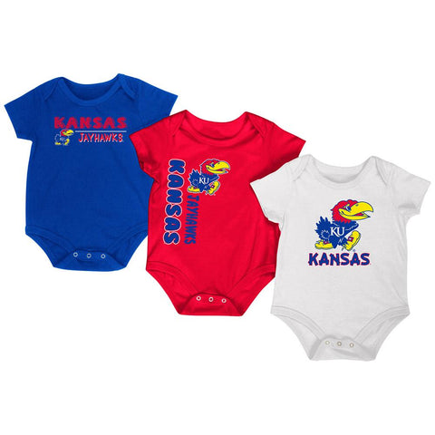 Kansas Jayhawks Colosseum Crimson Blue White Infant One Piece Outfits - 3 Pack
