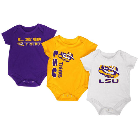 Shop LSU Tigers Colosseum Purple Gold White Infant One Piece Outfits - 3 Pack