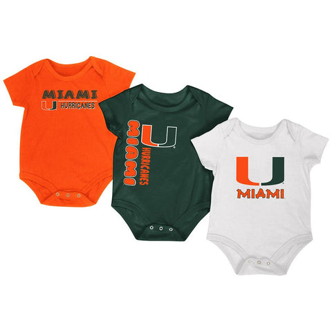 Shop Miami Hurricanes Colosseum Orange Green White Infant One Piece Outfits - 3 Pack
