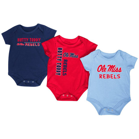 Shop Ole Miss Rebels Colosseum Red White Gray Infant One Piece Outfits - 3 Pack