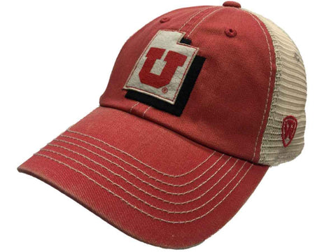 Shop Utah Utes Top of the World Red Beige United Mesh Adjustable Snapback Hat Cap
