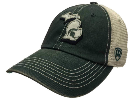 Michigan State Spartans TOW Green Beige United Mesh Adjustable Snapback Hat Cap