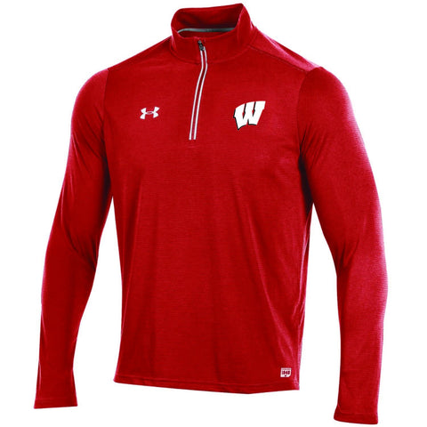 Shop Wisconsin Badgers Under Armour Sideline On Field 1/4 Zip Light Pullover Jacket