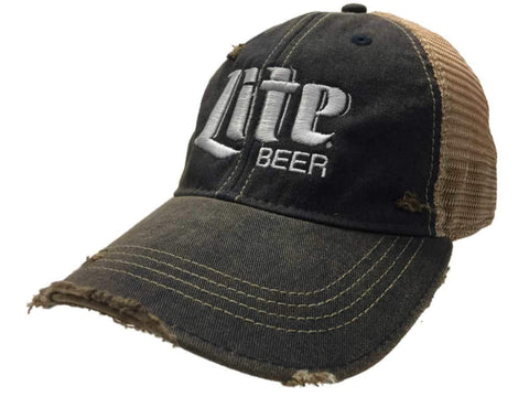 Miller Lite Beer Retro Brand Navy Brown Mesh Adjustable Snapback Trucker Hat Cap