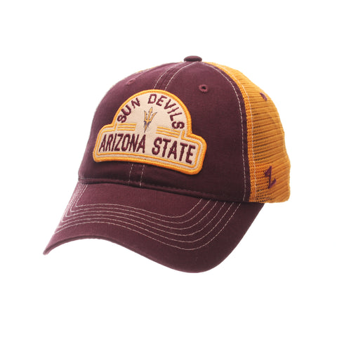 Arizona State Sun Devils Zephyr Maroon Route Style Mesh Back Slouch Adj. Hat Cap