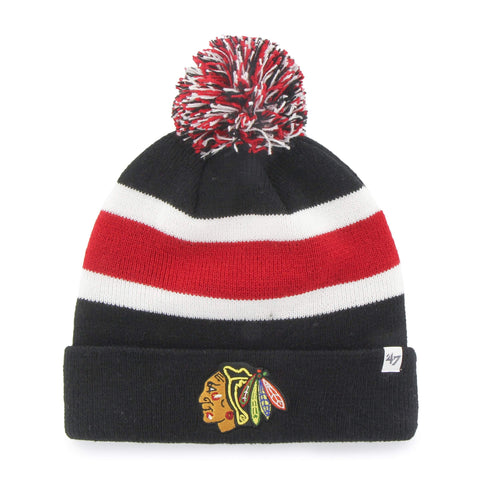 Shop Chicago Blackhawks 47 Brand Black White Breakaway Cuff Poofball Beanie Hat Cap