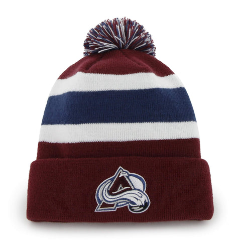 Shop Colorado Avalanche 47 Brand Burgundy Breakaway Cuff Poofball Beanie Hat Cap