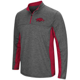Arkansas Razorbacks Colosseum Charcoal Gray & Red Milton 1/4 Zip LS Windshirt