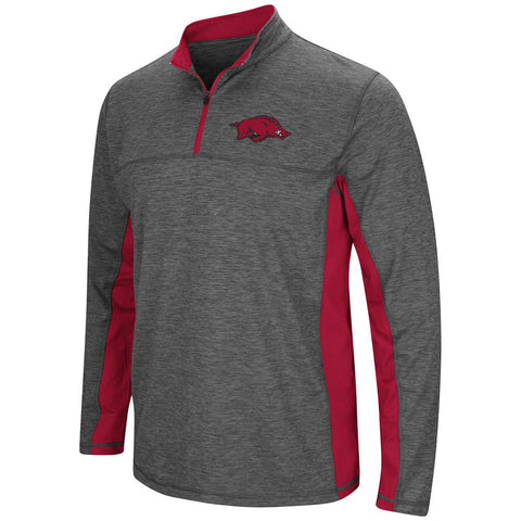 Shop Arkansas Razorbacks Colosseum Charcoal Gray & Red Milton 1/4 Zip LS Windshirt