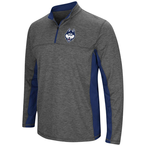 Shop UCONN Huskies Colosseum Charcoal Gray & Navy Milton 1/4 Zip LS Windshirt - Sporting Up