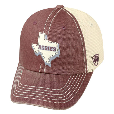 Texas A&M Aggies Top of the World United Mesh Slouch Adj Snapback Hat Cap
