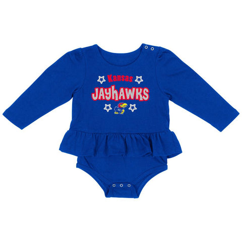 Shop Kansas Jayhawks Colosseum INFANT Girl's Blue Rock-A-Bye LS One Piece Outfit