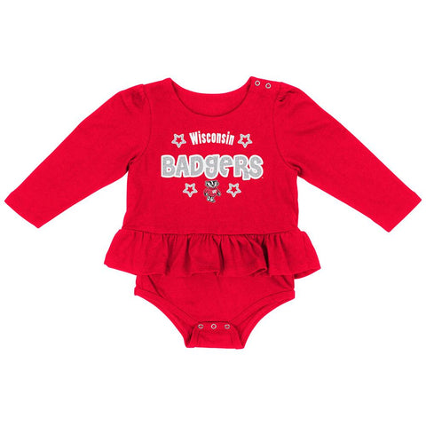 Wisconsin Badgers Colosseum INFANT Girl's Red Rock-A-Bye LS One Piece Outfit