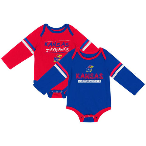 Kansas Jayhawks Colosseum INFANT Boy's LS One Piece Outfit 2 Pack