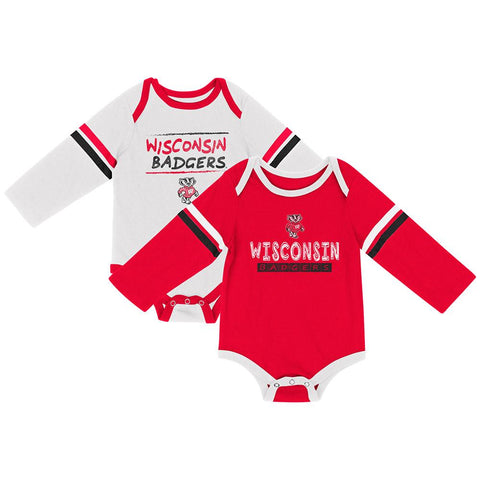 Wisconsin Badgers Colosseum INFANT Boy's LS One Piece Outfit 2 Pack