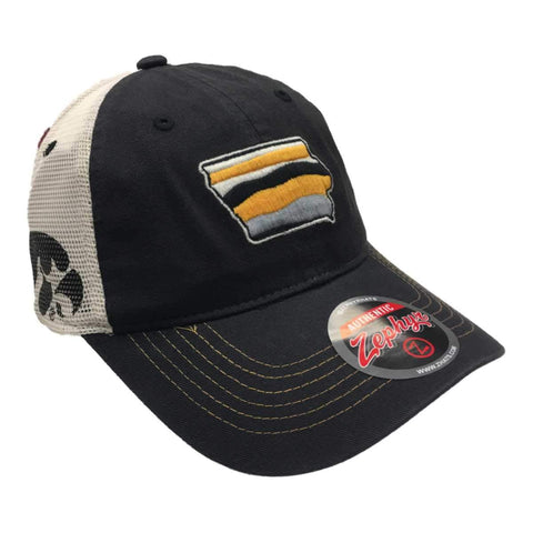 Shop Iowa Hawkeyes Zephyr Black Iowa State Outline Mesh Snapback Slouch Hat Cap