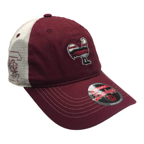 Shop South Carolina Gamecocks Zephyr Garnet Rooster Silhouette Mesh Snapback Hat Cap