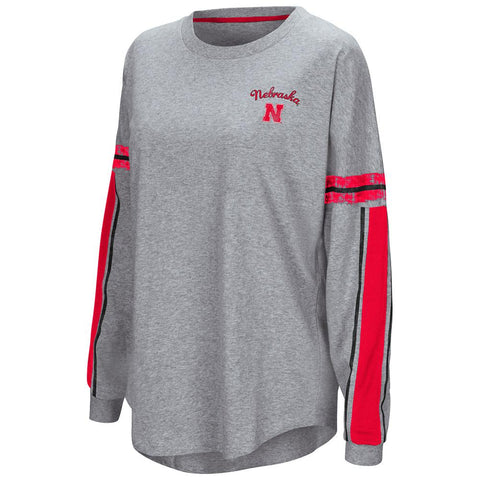 "Nebraska Cornhuskers Colosseum WOMEN'S Gray ""Mast"" Oversized LS T-Shirt"