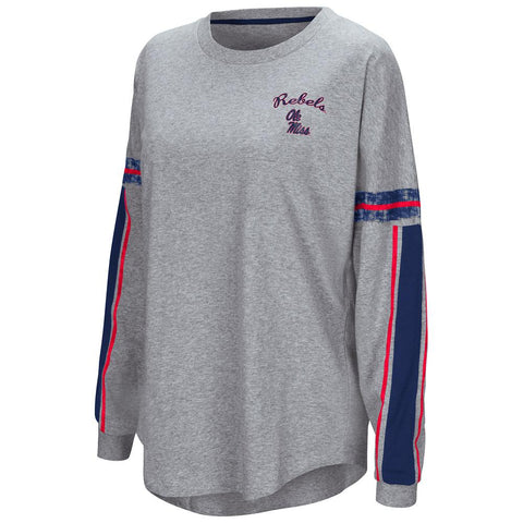 "Ole Miss Rebels Colosseum WOMEN'S Gray ""Mast"" Oversized LS T-Shirt - Sporting Up"