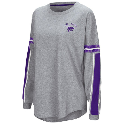 "Shop Kansas State Wildcats Colosseum WOMEN'S Gray ""Mast"" Oversized LS T-Shirt"