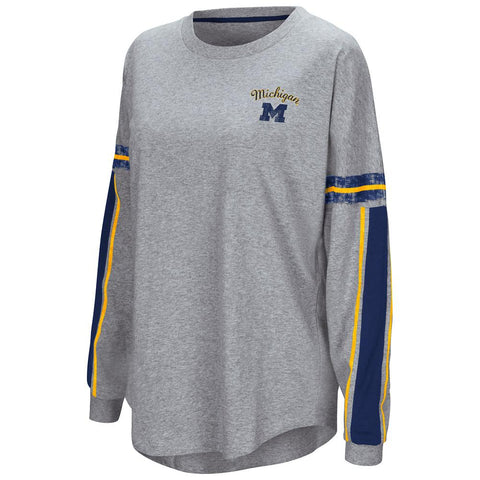 "Shop Michigan Wolverines Colosseum WOMEN'S Gray ""Mast"" Oversized LS T-Shirt"