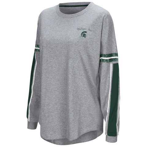 "Shop Michigan State Spartans Colosseum WOMEN'S Gray ""Mast"" Oversized LS T-Shirt"