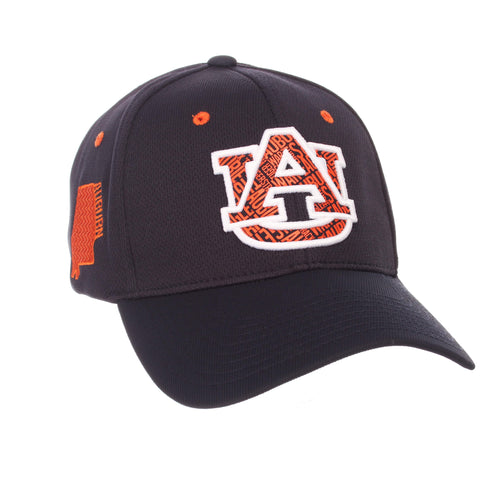 "Shop Auburn Tigers Zephyr Dark Navy ""Rambler"" Structured Stretch Fit Hat Cap (M/L)"
