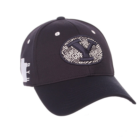 "Shop BYU Cougars Zephyr Dark Navy ""Rambler"" Structured Stretch Fit Hat Cap (M/L)"