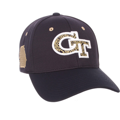 "Georgia Tech Yellow Jackets Zephyr Dark Navy ""Rambler"" Stretch Fit Hat Cap (M/L)"